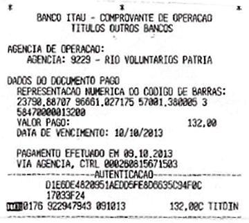 """Comprovante: """"Pagamento efetuado em 09.10.2013″"""
