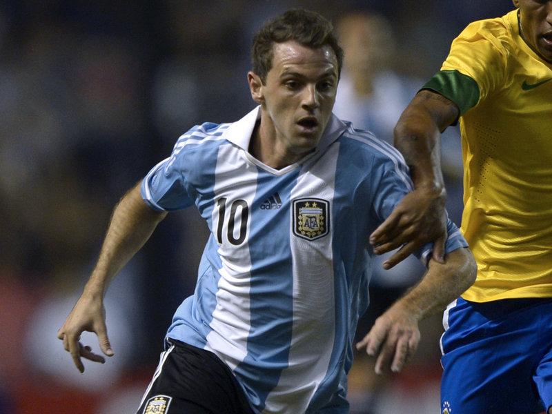 Montillo em ação pela Seleção Argentina.