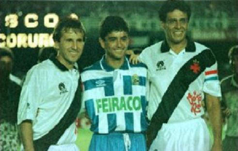 A despedida, em 24 de março de 1993: Zico, Bebeto e Dinamite.