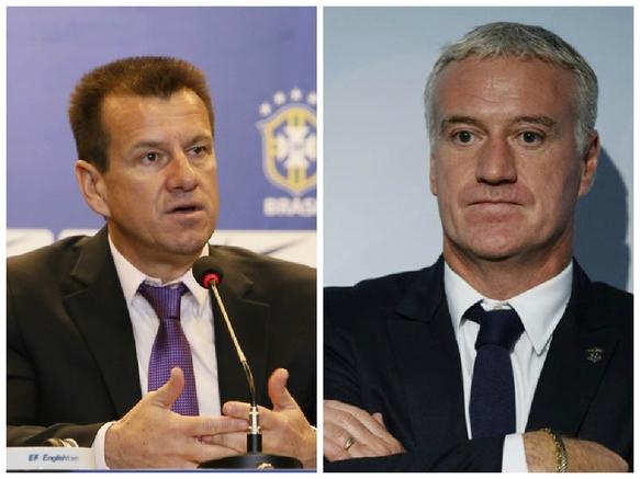 Dunga e Didier Deschamps, hoje treinadores de Brasil e França. (Foto: Montagem/EFE/Reprodução)