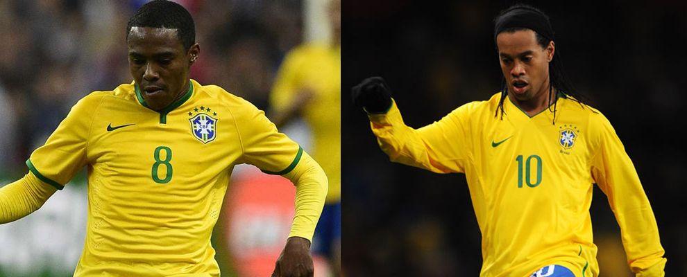 Elias e Ronaldinho: juntos, somente na seleção.