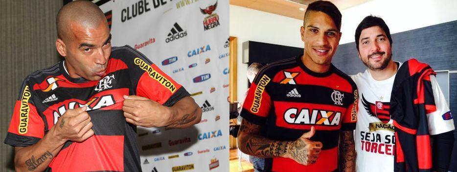 Sheik, Guerrero e o Sócio Torcedor Rafael Gama (Fotos: Paulo Sergio/Lancepress! e Divulgação / Flamengo)